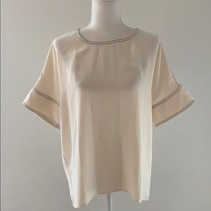 NWT Ann Taylor Cream Blouse with Black Stitching